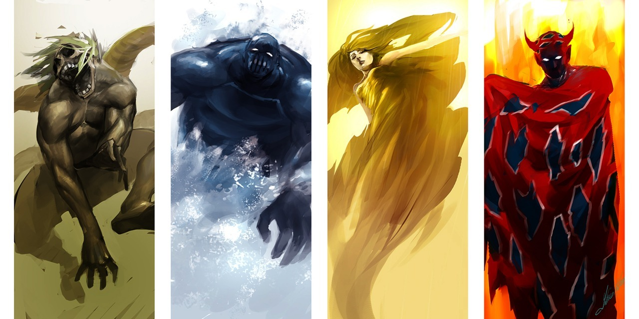 captainandrastecrotch:  Beautiful rendition of the Four Fiends from FF4. Oh my god how much alliteration do you want.