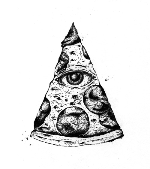 "stuffthatido:  ""All-Seeing Pizza"" Ink on paper"