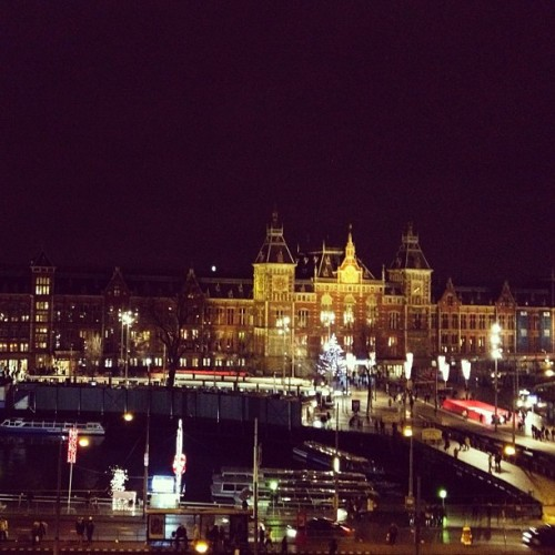 View of Central Station in Amsterdam at night (Taken with Instagram at Park Plaza Victoria Amsterdam)