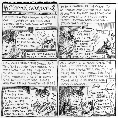 laurark:  There's something incredibly touching about Lynda Barry's comics, like when you read all the words and look at the pictures there's something more that appears in your mind, like a chemical reaction. There's something really special in them, I can't say this the right way or capture it. It can't be captured by definition, it's magic. They way Marlys is so snotty and also vulnerable. The dialogue and intonation denoted by underlining words. I'm about to graduate from art school for comics and I know at least one dude (and suspect many others) who has never read a Lynda Barry comic.  it's like a bedtime story