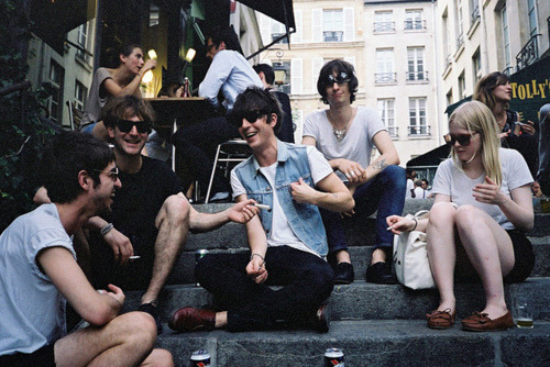James, Sirius, Remus, Peter and Marlene hanging out in muggle london.  Taken by Lily Evans Summer 1976