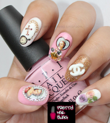 My NYE mani that I'll be rocking tonite, inspiration from the amazing Scratch Dollface. Tried out my NailGrafx for the first time and Pink Friday from the OPI Nicki Minaj collection…lovin' em both! Wishing my followers all the best for 2012, love ya'll!!! <3 <3 <3
