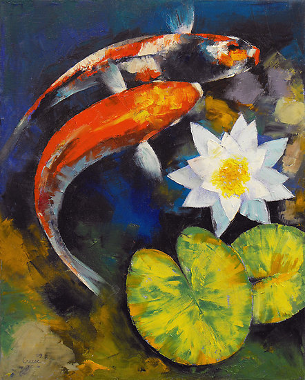 "creese:  ""Koi Fish and Water Lily"" by Michael Creese 