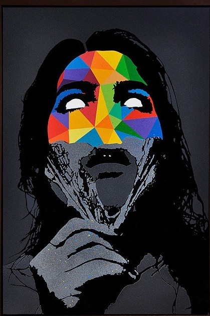 darksilenceinsuburbia:  Eelus. True Colors. Spray paint on canvas.