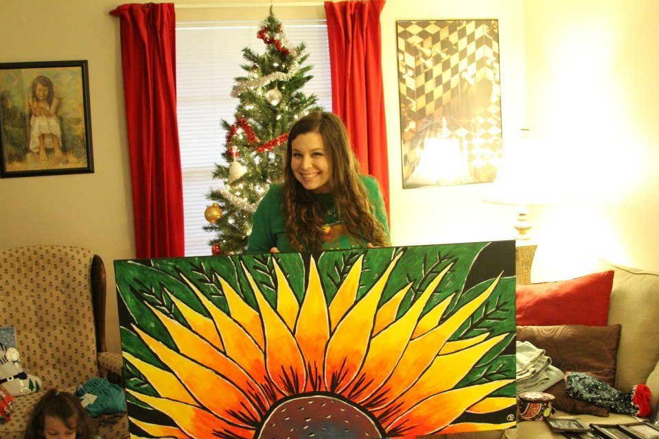 Here's the photo I promised to post of the sunflower I painted for my beautiful wife!!  I think its one of my favorites.