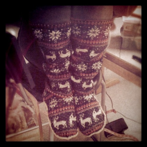 """Finished up my sewing experiment… Slipper Socks! Handmade & designed by me, Cory U"" (Taken with Instagram)"
