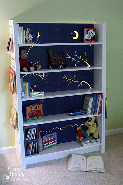 truebluemeandyou:  DIY Backlit Bookshelf. This project uses a dremel and is pretty complicated but I love how it looks.Tutorial at Pretty Handy Girl here. *What I would do: paint the back and shelves in a midnight blue and use glow-in-the-dark paint.