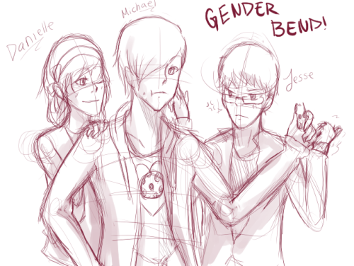 GENDERRRRRR BENDDDDDDDD. Michael is me. Danielle is MoarPylons. Jesse is Pink-Koala. Oh and Danielle is the one stroking Michael's face. Jesse's hand is near Michael's butt pft.Jesse: >C Who is she, Michael? I am NOT going to share. *Is about to beat her up*Dainelle: Wanna share that cookie >v>? *Ignoring Jesse*Michael: … :Y *Nom nom*
