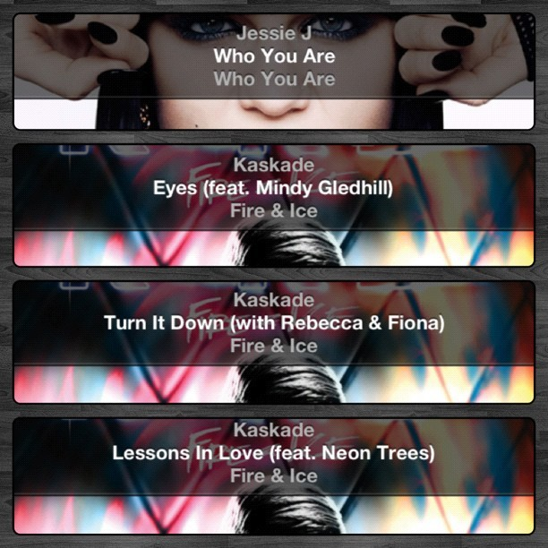 A few of my #favorite #songs to #listen to on the #road. #jessiej #kaskade #music #personal #instagram (Taken with instagram)