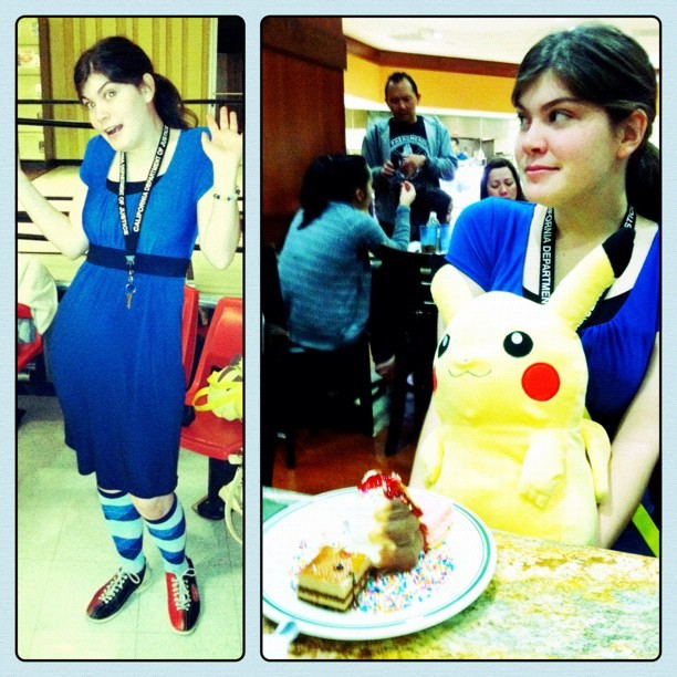 Her new #pikachu #purse, and her usual #outfit. Hahah. Gotta #love the #bestfriend. #random #crazy #instagram #portrait #pokemon #fashion (Taken with instagram)