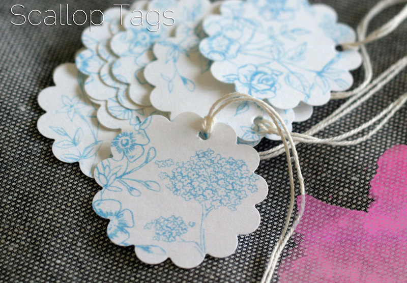 cintaknits | Intro Sale 10% off - Floral Scallop Tags set of 12, Floral Sky Blue Pattern