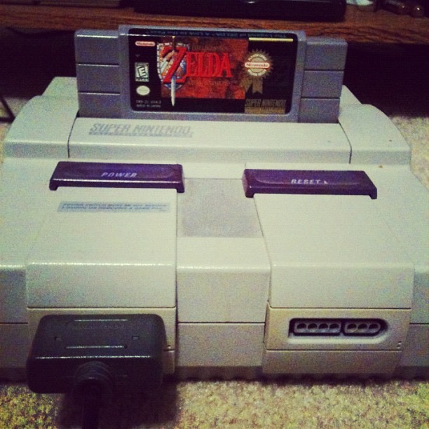 Busted out the old #super #nintendo! #gaming #console #radical #zelda #linktothepast #woop (Taken with instagram)