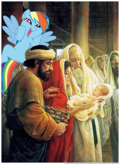 """Oh boy! I'm starving!' 'No Rainbow Dash, Jesus is not for eating"" ""But he looks so tasty!"" ""No Rainbow Dash!"""