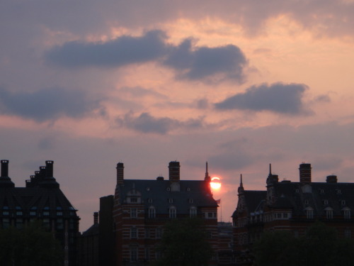 Sunset and London roofs. London, England April 28, 2011.