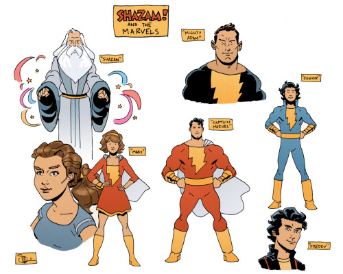 Very slight redesigns of the Marvel Family by Evan Shaner, as part of a hypothetical exploration of how he'd draw them for DC.