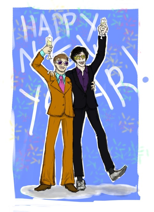 snarkydarko:  Doctor Modson and Sherlock. Happy New Year, Sherlockians! Thanks for letting me in on the fun. It's only a matter of hours now until series 2.