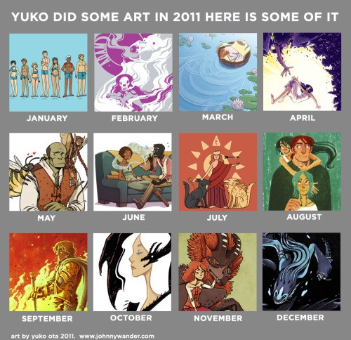 2011 Monthly Art Meme. Happy New Year, guys!  Here is some art that I did over the past year!  I usually try to fill these things with exclusively personal art and projects, but a bunch of months wound up being filled with paid work, professional work, and fanart.  (Which, uh, I drew a lot of this year, and thanks for bearing with me.)  Here's last year's chart. Sorry for being off the radar this week!  I'll have some cool things for you guys in the near future, I promise.