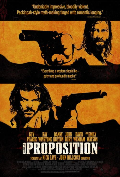 The Proposition (2005) P365 Film #365 I didn't know before watching it, but this film was written by Nick Cave of Nick Cave and the Bad Seeds. This instantly made it cooler. He also did the music for the film, which is, of course, fantastic. It's an Australian western about an outlaw who is told that if he does not find and kill his older brother, the law will kill his younger brother. I liked it. It was quite slow and with minimal action, which I thought worked really well. The action was great and uncompromising when it did happen though. Yeah. Good film. Also, Project 365 Films is complete!