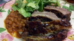 Baby back ribs, Caesar salad and grandma's beans!