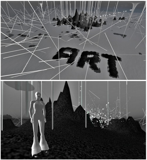Selavy Oh's installation at LEA24 on Second Life is pretty much amazing. I still haven't figured out how she can make the ground move when you're walking on it but it's surely one of the nicest effects I've seen on SL. Click on that [LINK] to teleport to her installation!