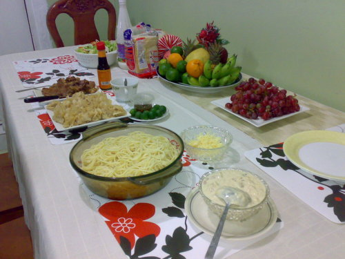 our simple new year's eve feast :) carbonara, pork siomai, green salad with ranch dressing and some t-bone steak. have a blessed 2012 for all of us :)