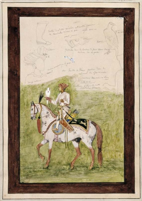 eyeburfi2:  Gustave Moreau (1826- 1898), Study of Indian falconer on horseback. Notebook of Oriental Studies, graphite, watercolor and white gouache. Via Islamic Arts Magazine