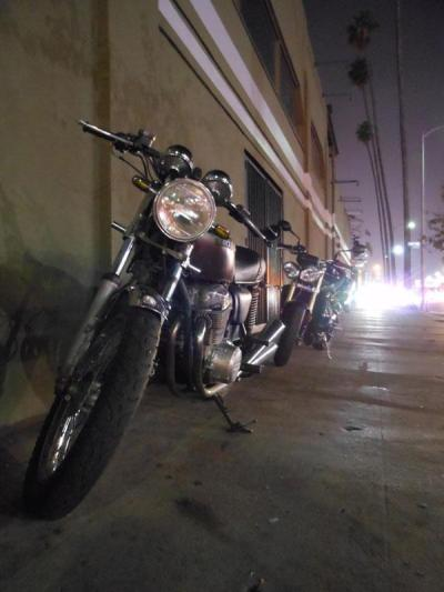 Submission from Renee Gunter-  My '78 Honda 750 on the town. Image by Ivana Ford.