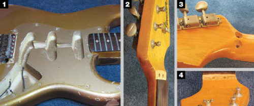 Ouch.  Someone installed a Floyd on this 1965 Shoreline Gold Strat. See how it got put together in our Restoring an Original column.