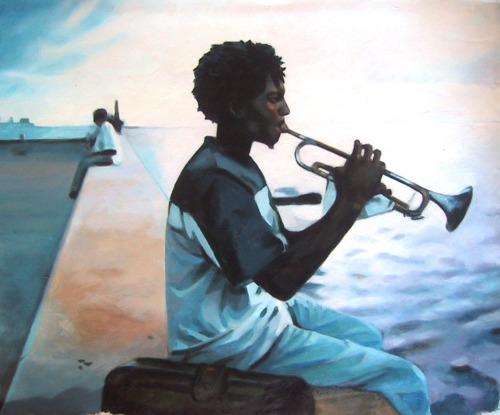 Horn Cuba blue Oil on canvas