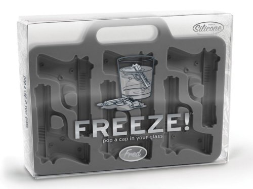 wickedclothes:  Handgun-Shaped Ice-Cube Tray.  Chill drinks while heating up the party with help from this creative ice-cube tray. Fitted with six handgun-shaped molds that result in intricately detailed—and entirely unexpected—gun-shaped ice cubes, the innovative tray brings hilarity and an element of surprise to guests' otherwise innocuous beverages. Sold on Amazon.