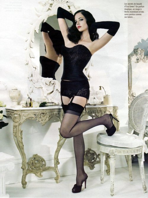 oldestyles:  Eva Green in a corselette from a french magazine spread.