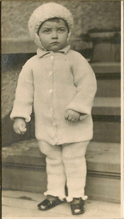 21-month-old Charlie Hejda in a ridiculously cute knitted ensemble, taken April 1913. (From my personal collection.)