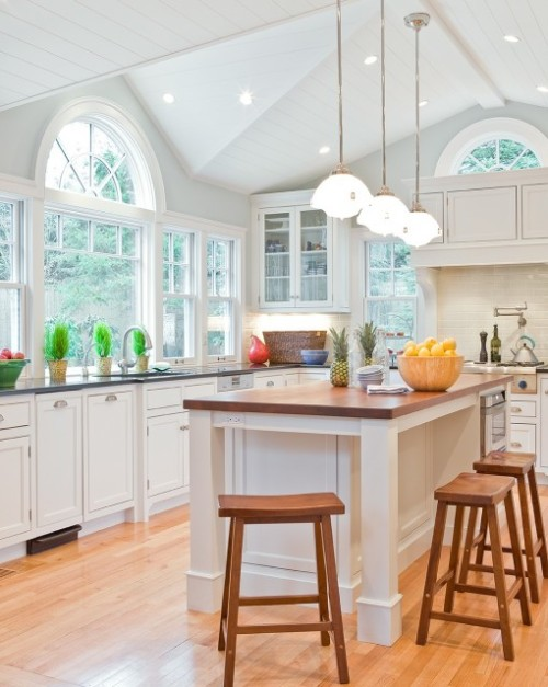 A super-bright and beautiful kitchen… walls are painted Palladian Blue by Benjamin Moore (via David Sharff Architect, P.C.)