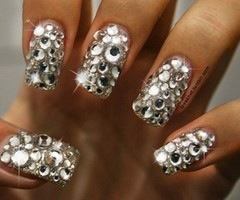 I like my nails super sparkly, but this is overboard by even my standards! I LOVE IT. -B