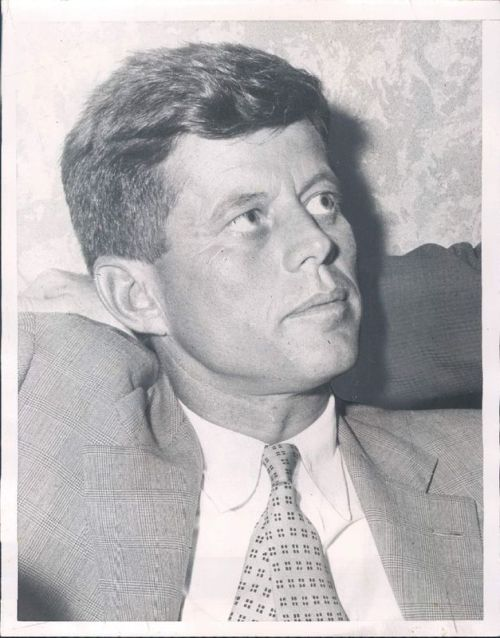 John F. Kennedy, Democratic National Convention in Chicago, 1956. The Senator of Massachusetts narrowly lost the nomination for Vice President to Adlai Stevenson.