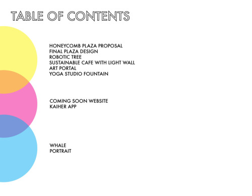 Portfolio: Table of Contents by Anjali Patel