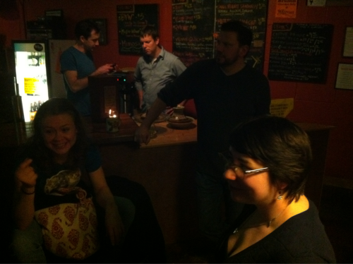 After (and counter-clockwise): Katie McNeely, Jen Cyr, Rex Carter, and the cool guys from the Waypost.