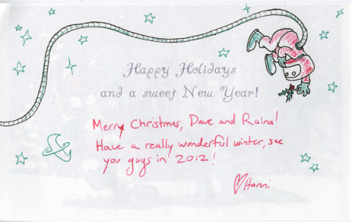 Holiday card from Hanni Brosh featuring drawing of Doug Hiro! More from Hanni at: saffronscarf.tumblr.com http://hannibrosh.blogspot.com/