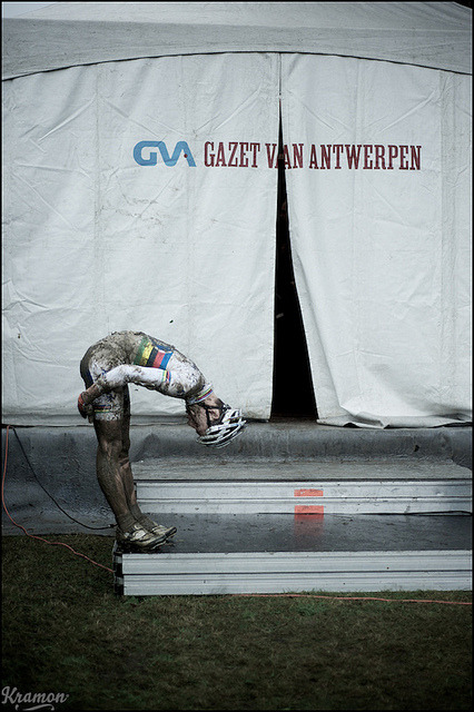Lars Van der Haar mudcleaning after his win by kristof ramon on Flickr. Stretchy muddy.