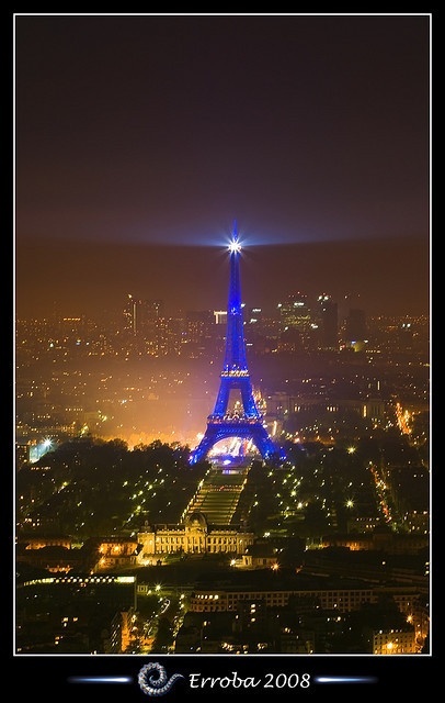 Eiffel tower at night, seen from Tour Montparnasse :: Long Exposure by Erroba on Flickr.