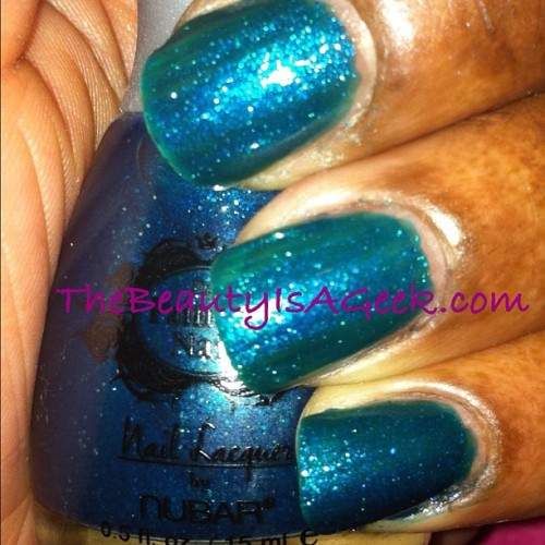 Kiss And Teal @bynubar for @thepaintednail. 2 coats. #nails #swatches #glitter  (Taken with instagram)