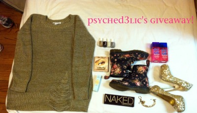 p-s-y-c-h-e-d-3-l-i-c:  PSYCHED3LIC's GIVEAWAY! It's a new year so I decided to give away some stuff that i got for Christmas (all unused) since I love you all :) This includes the following: BCBG sweater Doc Martens (flower print) Gold Steve Madden heels Naked by Urban Decay Palette Too Faced Makeup Palette Too Faced Shadow Insurance (eye primer) Victoria's Secret PINK perfume - sweet & flirty Victoria's Secret PINK perfume - soft & dreamy Juicy Couture gold charm bracelet  4 Essie nail polishes in the colors: wicked, case study, allure, and chinchilly THE RULES: reblog as many times as you want - likes dont count must be following p-s-y-c-h-e-d-3-l-i-c  the winner will be RANDOMLY CHOSEN  i will ship anywhere in the world the winner will be messaged THE GIVEAWAY ENDS JANUARY 31st!