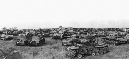 """Captured German tanks southwest of Stalingrad, shown on April 14, 1943."""