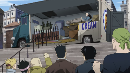the episode in which Roy Mustang gathers the board of neighborhood planning of his suburb and insists that the ice cream vendors take their hydrogenated oils and transfats elsewhere