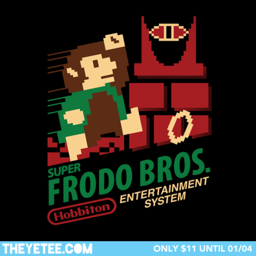 it8bit:  Super Frodo Bros. - by pacalin (Pauline Acalin) theyetee:  One cannot simply walk into Mordor, but you CAN slide across it on one foot at the beginning of Level 8-4 by jumping and holding B at the same time.  Find it $11 only at THE YETEE! Pick one up while you can, as they are on sale until 01/04 Make sure you swing by our Facebook page to enter to win a free shirt!   MY PRECIOUS, MY PRECIOUS!