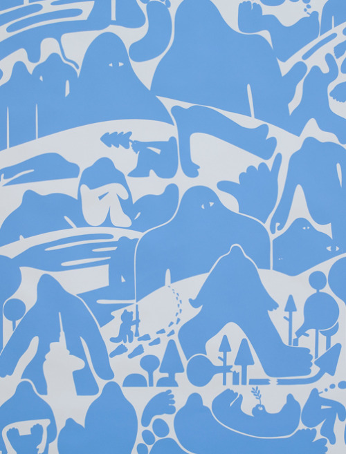 "therecklessabandon:  Pottok Wallpaper by Geoff Mcfetridge ""Shadows of the Paranormal"" (Blue)"