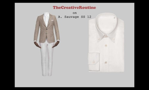 "A. Sauvage Spring/Summer 2012 Collection Anyone who's been following TheCreativeRoutine for awhile should know of my affinity for British-Ghanaian fashion designer and filmmaker Adrien Sauvage. Personal stylist turned fashion designer/filmmaker/photographer, A. Sauvage is a creative polymath who had the internet going crazy last year when he released the initial collection for his eponymous line, along with the short film/lookbook and numerous photo series that accompanied. His lookbook, ""This is Not a Suit"", showed at Sundance and had everyone from GQ to Vogue singing his praises.  Sauvage is hitting 2012 head first, having released his Spring/Summer collection on New Year's Day. It's a striking offering: a collection of white and camel tones, double-breasted tuxedo blazers, and placket pockets. Sauvage's new collection combines modern, minimalistic design with traditional African prints and imagery. All the pieces are beautifully crafted, that's a given for him. What's most impressive for me is the way he gracefully incorporates different elements of West African culture and style into a traditional Western silhouette. His kente cloth designs are great. Utilizing the traditionial Ghanaian fabric, he spawns gold, square-end silk ties and impressive black-on-black tuxedos. Not to mention that several of his shirts even have kente placket detailing. Along with the black, kente DB tuxedo, my favorite look would have to be the short sleeve ensemble. Part of the brilliance of this collection is the subtleties Sauvage throws in there. His short sleeve look is immediately reminiscent of all the iconic photos of West African college students in the 1970s that I grew up seeing. I'd wager that the family photo albums of countless first generation Nigerian-Americans and Ghanaian-Americans are peppered with similar imagery.  (via street etiquette) You can check out his latest interview with Milan Vukmirovic in Issue 01 of Fashion for Men Magazine."