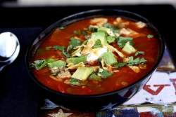Raw Vegan Tortilla Soup - adaptation to try… 2 tablespoons ground cumin1 red, 1 yellow bell pepper1 clove garlic, minced4 smashed heirloom tomatoes1 green or red chile7 cups water1/2 t. Himalayan salt 2 teaspoons paprika2 teaspoons chili powder½ teaspoon garlic powder½ teaspoon onion powder½ teaspoon dried oregano1 teaspoon coriander1-2 ears organic corn, kernels cut off1 cup sprouted black beans, drained and rinsed Salt and pepper to tasteGarnish IdeasParma! Cheese sprinkle or nutritional yeastDiced AvocadoChopped cilantroCashew creamProcess soup ingredients pulsing or blending until smooth. Leave more ingredients out before blending for a chunkier soup. Warm bowls in dehydrator or warm in pan gently before serving.