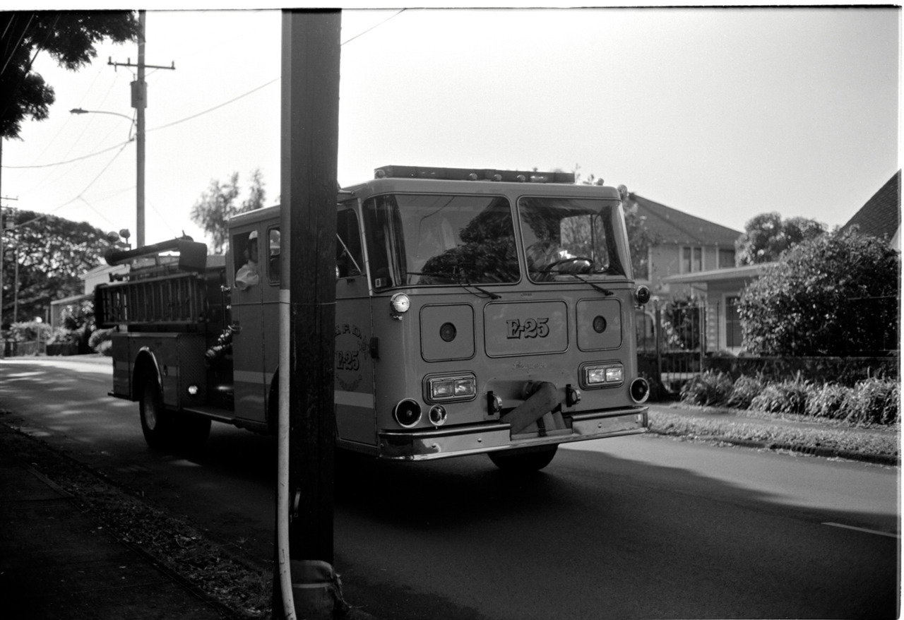 fire truck. new years' eve morning, walk around my neighborhood. voigtlander bessa   r3a, 40mm nokton 1.4, fuji neopan acros 100 hand processed on the   toilet.