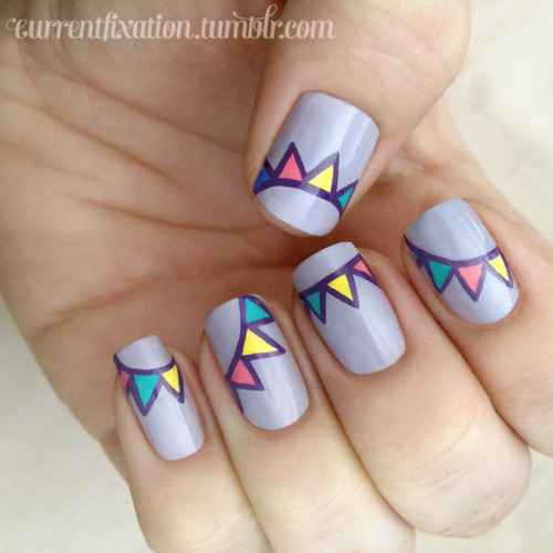 "fuckyeahnailart:  currentfixation:  Bunting nails! (Inspired by DaaaangGirl) Lilac: Butter in ""Muggins""Others: Acrylic paints   This is definitely adorable!"